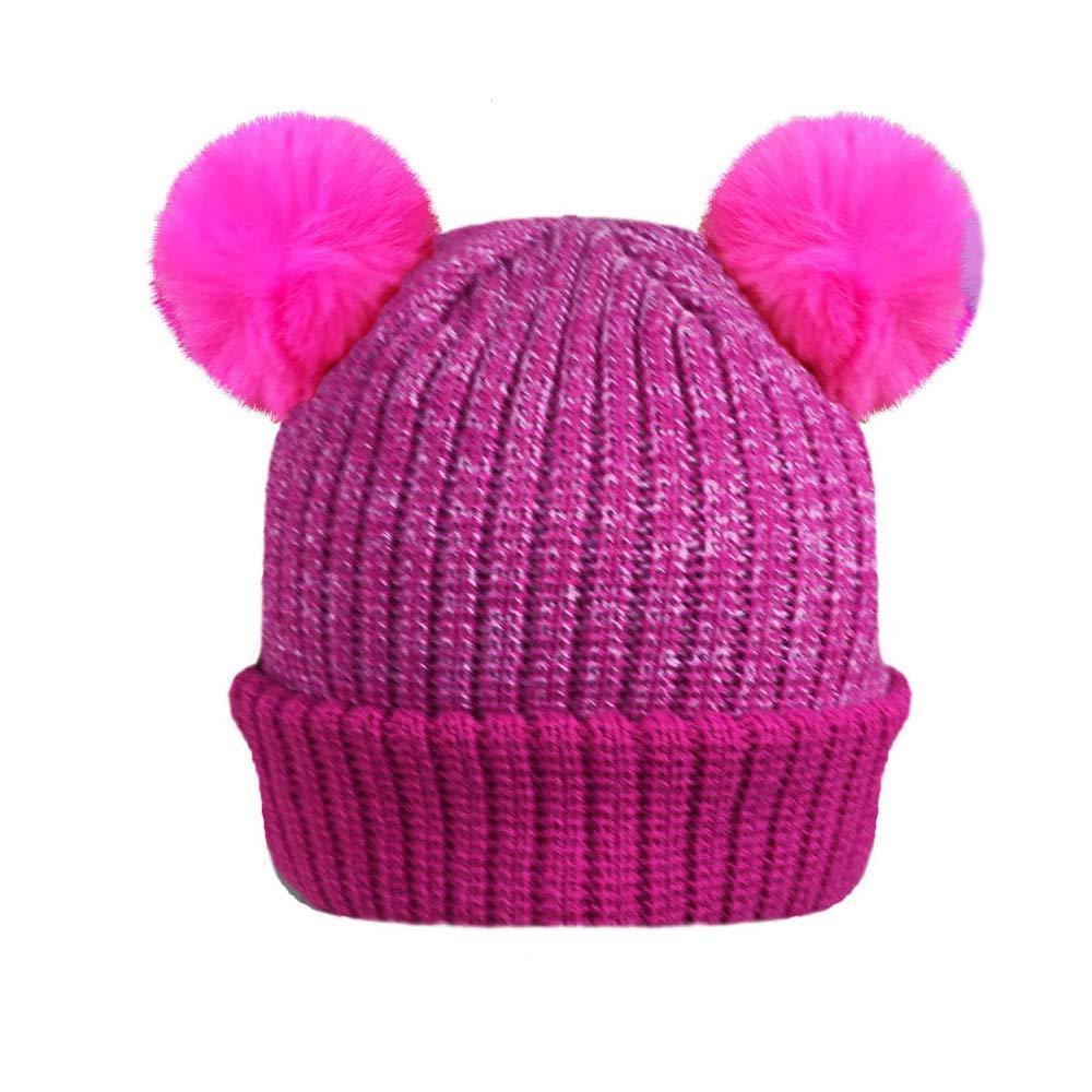 Purple Pom Pom Hat Girls Knitted Double