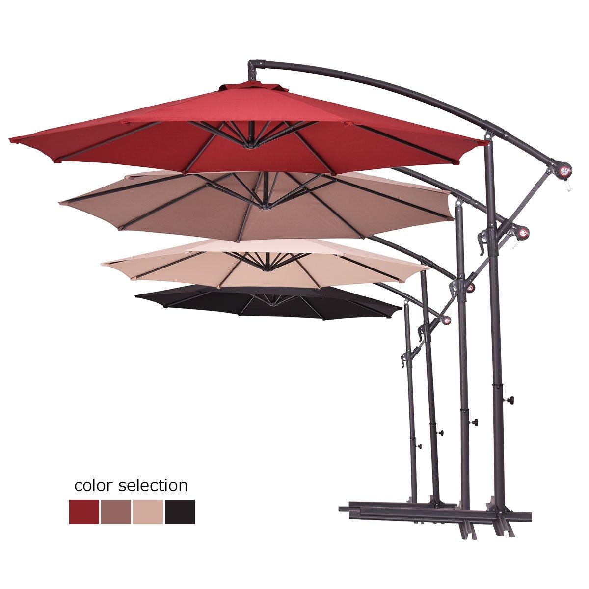 Costway 2.7M Outdoor Parasol Sun Shade Cantilever Banana Hanging Umbrella Patio Garden (Burgundy)