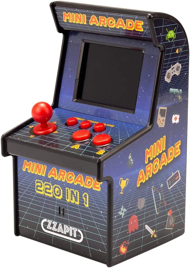 Image of a retro mini arcade machine with a red joystick and buttons