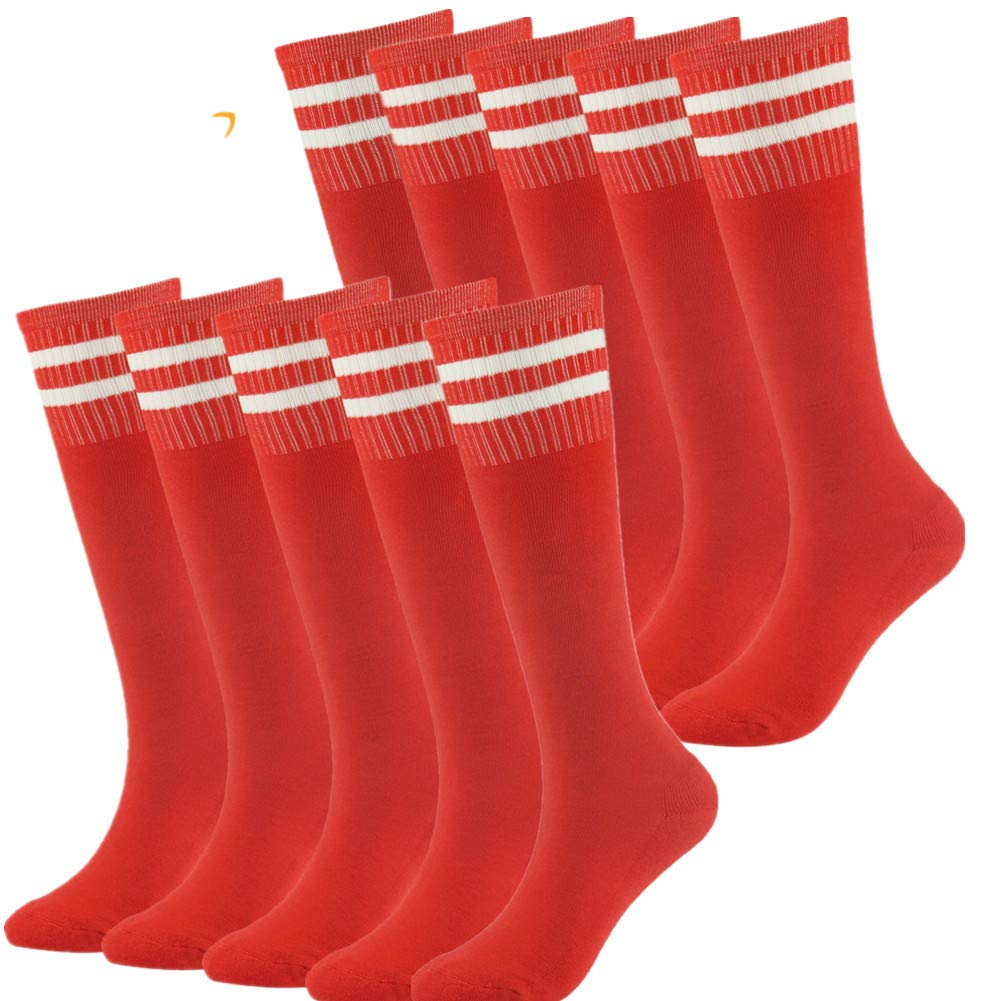 Football Soccer Socks for Boys 10 Pairs Boys Girls Cotton Knee Long Team Socks Children Sport Socks Red OS by Lucky Commerce