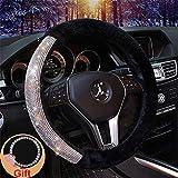 Forala Car Steering Wheel Cover Fur Bling Bling Rhinestone Luxurious Universal for Girls Lady Winter Warm (Black)