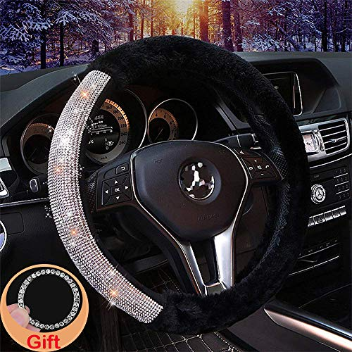 Alusbell Car Steering Wheel Cover Fur Bling Bling Rhinestone Luxurious Universal for Girls Lady Winter Warm (Black)