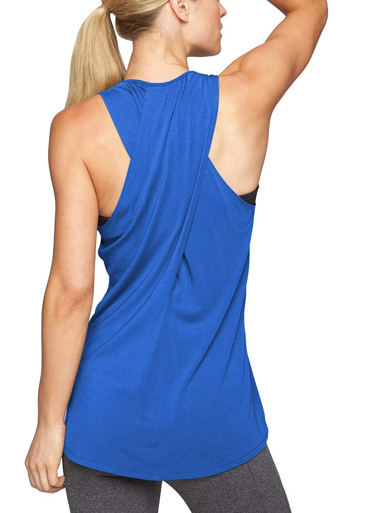 Mippo Women's Activewear Workout Tank Tops Sexy Cute Athletic Yoga Tops Sports Running Tank Tops Cross Back Fitness Shirt Summer Juniors Exercise Gym Clothes Blue XS