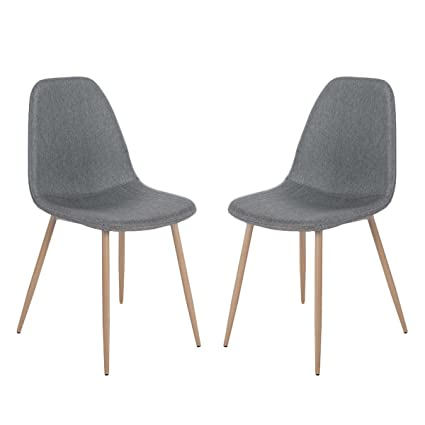 Merax Eames Style Fabric Dining Side Chairs with Metal Legs and Padded Seat & Back Set of 2 (Grey)