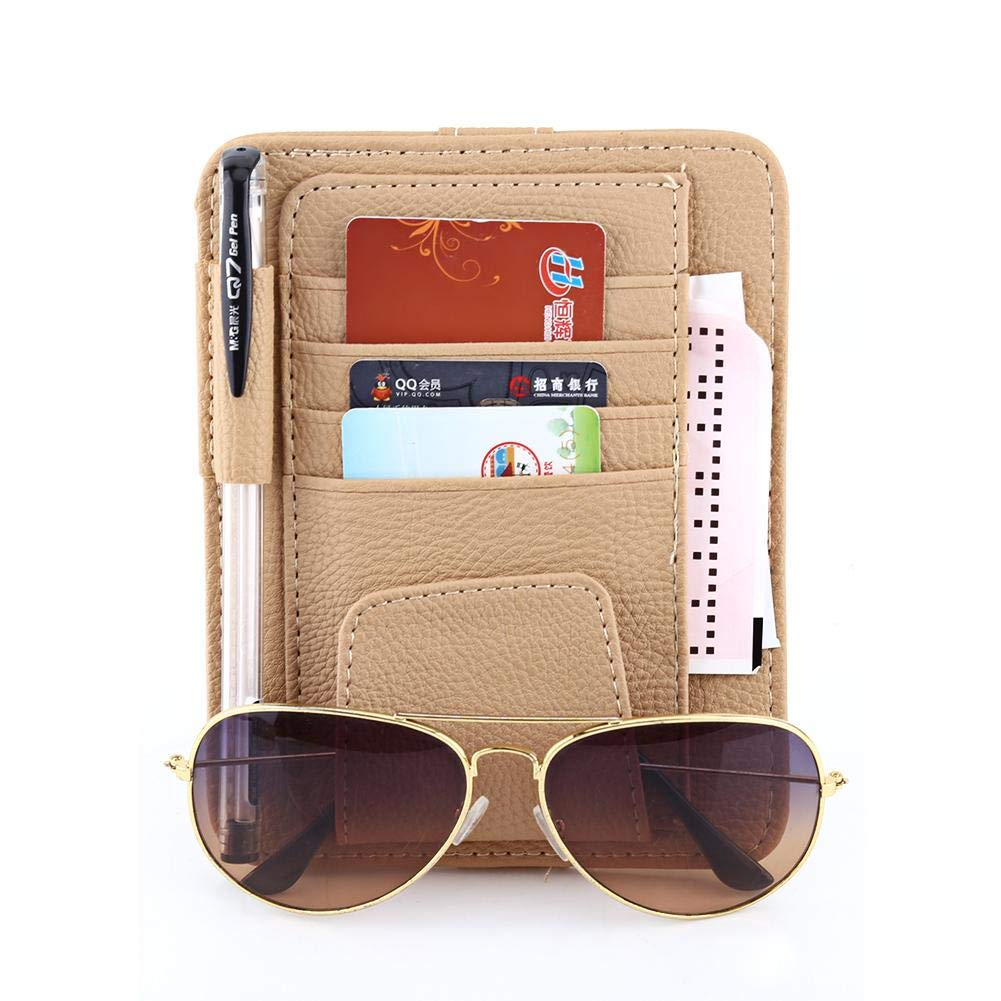Black Cuque Multifunctional Auto Accessories Pocket Organizer PU Leather Material Visor Storage Holder Lichee Pattern Card Storage Glasses Holder Clip 15 x 12.5cm Black//Beige//Orange//Brown