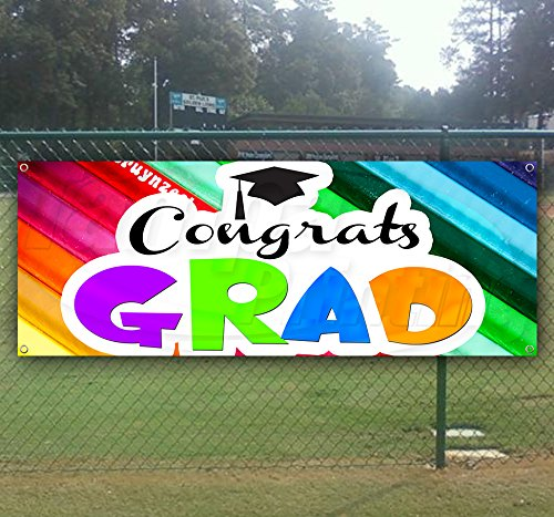 Congrats Grad 13 oz Heavy Duty Vinyl Banner Sign with Metal Grommets, New, Store, Advertising, Flag, (Many Sizes Available) by Tampa Printing