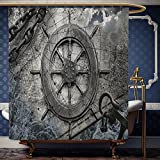 waterproof charts 78 - Wanranhome Custom-made shower curtain Ships Wheel Decor Set Vintage Navigation Equipment Illustration with Steering Wheel Charts Anchor Chains Charcoal For Bathroom Decoration 60 x 78 inches