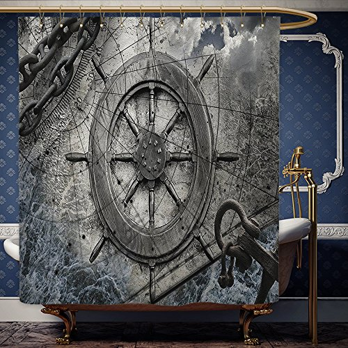 Wanranhome Custom-made shower curtain Ships Wheel Decor Set Vintage Navigation Equipment Illustration with Steering Wheel Charts Anchor Chains Charcoal For Bathroom Decoration 60 x 78 - Me Near Galleria