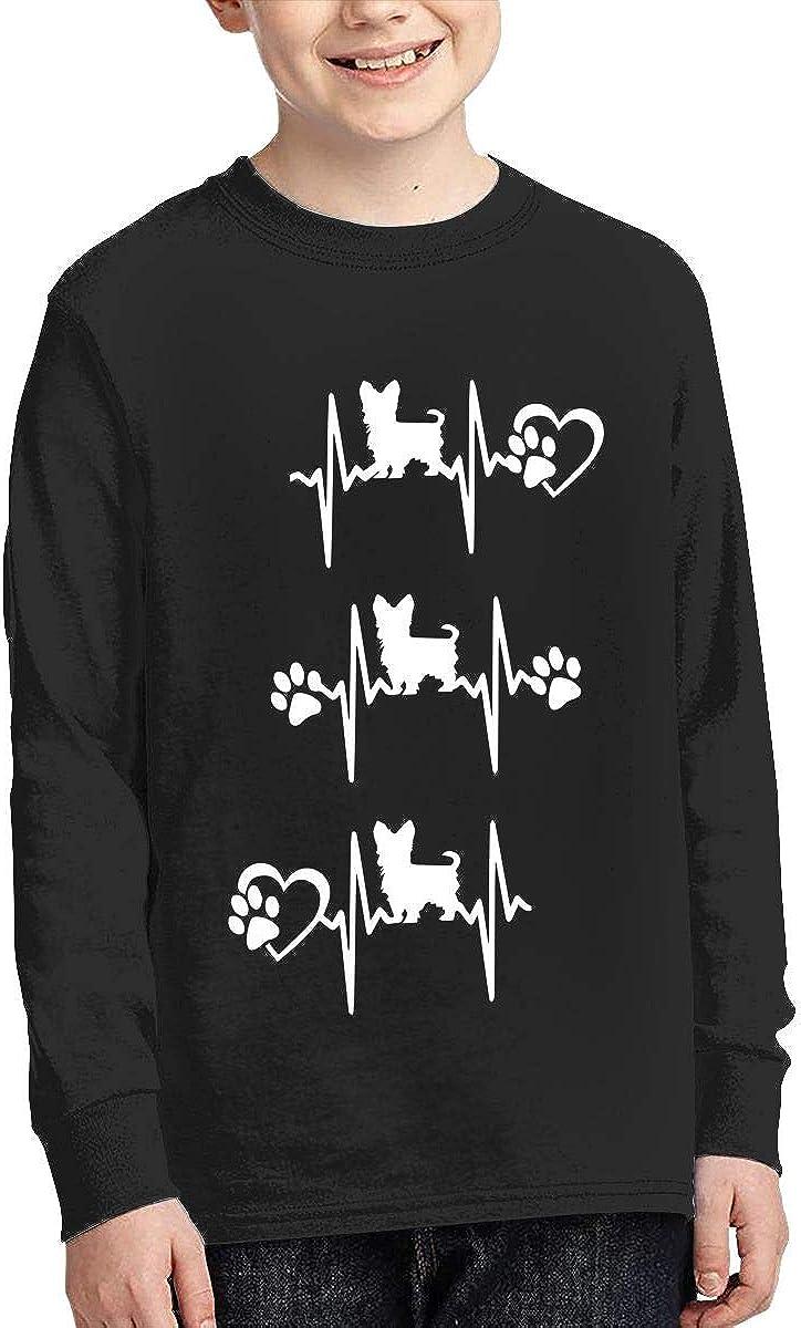 Teenagers Teen Girl Cute Yorkie Heartbeat-1 Printed Long Sleeve 100/% Cotton Tops