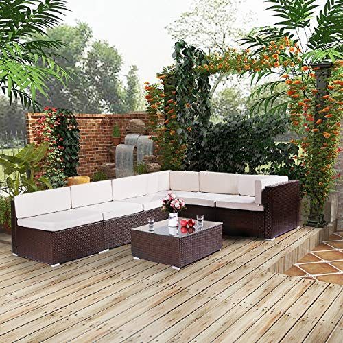 Esright 7 Pieces Patio PE Rattan Wicker Sofa Sectional Furniture Wicker Chair Conversation Set with Cushions and Glass Top Tea Table, Brown ()