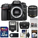 Nikon D7500 Wi-Fi 4K Digital SLR Camera Body with 18-55mm VR AF-P Lens + 32GB Card + Case + Flash Kit (Certified Refurbished)