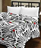 eCraftIndia 220 TC Polycotton Single Blanket - Abstract, Red, Black and White
