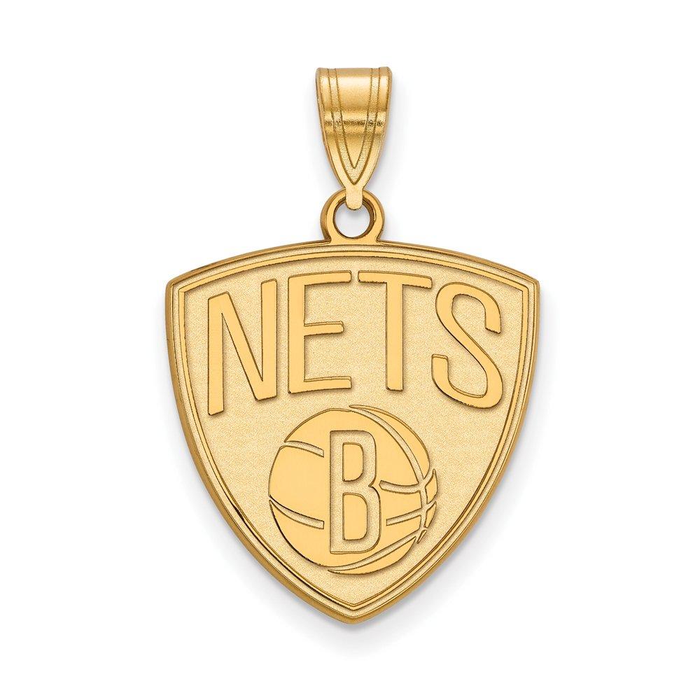 NBA Brooklyn Nets Large Logo Pendant in 10K Yellow Gold