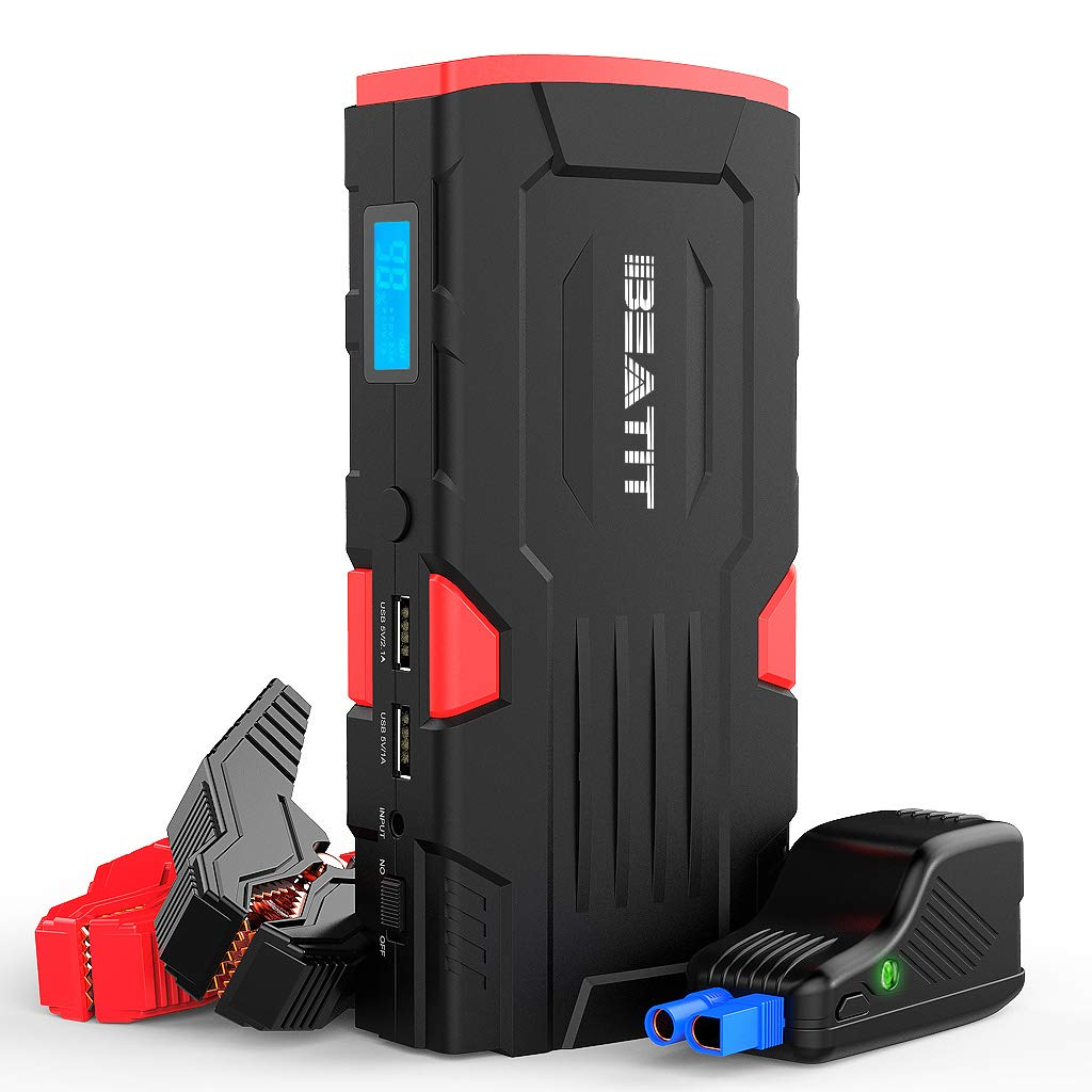 Beatit 800A Peak 18000mAh 12V Portable Car Jump Starter (up to 7.5L Gas Or 5.5L Diesel) with Smart Jumper Cables Auto Battery Booster Power Pack D11