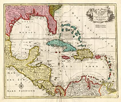 Mexico Florida Map.Amazon Com Antique Map Carribean America Florida Mexico Elwe 1792