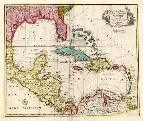 America Map Florida.Amazon Com Antique Map Carribean America Florida Mexico Elwe 1792