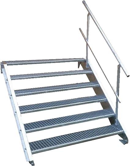 Stahltreppe Industrietreppe Aussentreppe Treppe 4 Stufen-Breite 100cm Variable Geschossh/öhe 55-85cm mit einseitigem Gel/änder