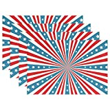 LDIY America Star Placemats Stain Heat Resistant Table Doilies Mats for Dining Dinner Party (Set of 4)