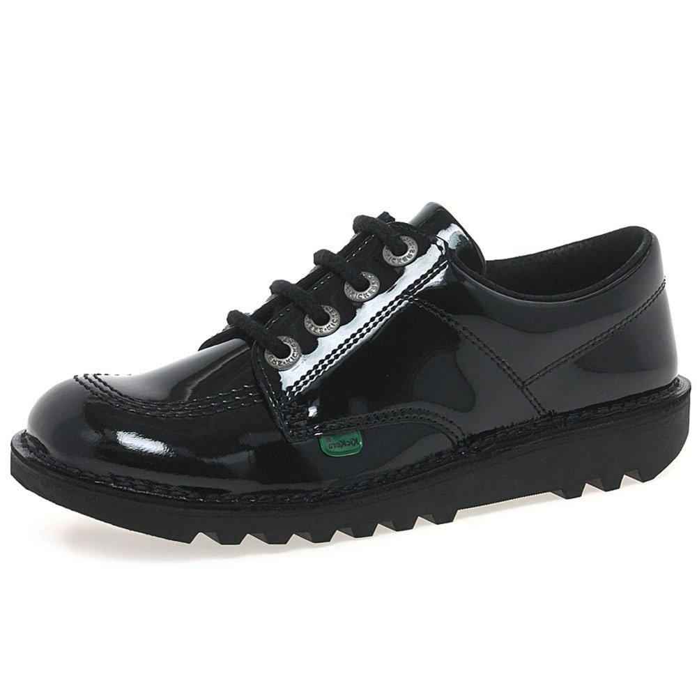 Kickers Womens Kick Lo Core Lace Up Work Office Patent Black Shoes - Black/Black - 7.5