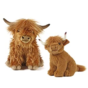 Living Nature Soft Toy Gift Bundle - Plush Highland Cattle, Cow (30cm) & Calf (20cm)