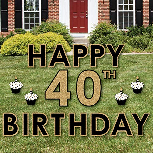 Big Dot of Happiness Adult 40th Birthday - Gold - Yard Sign Outdoor Lawn Decorations - Happy Birthday Yard Signs