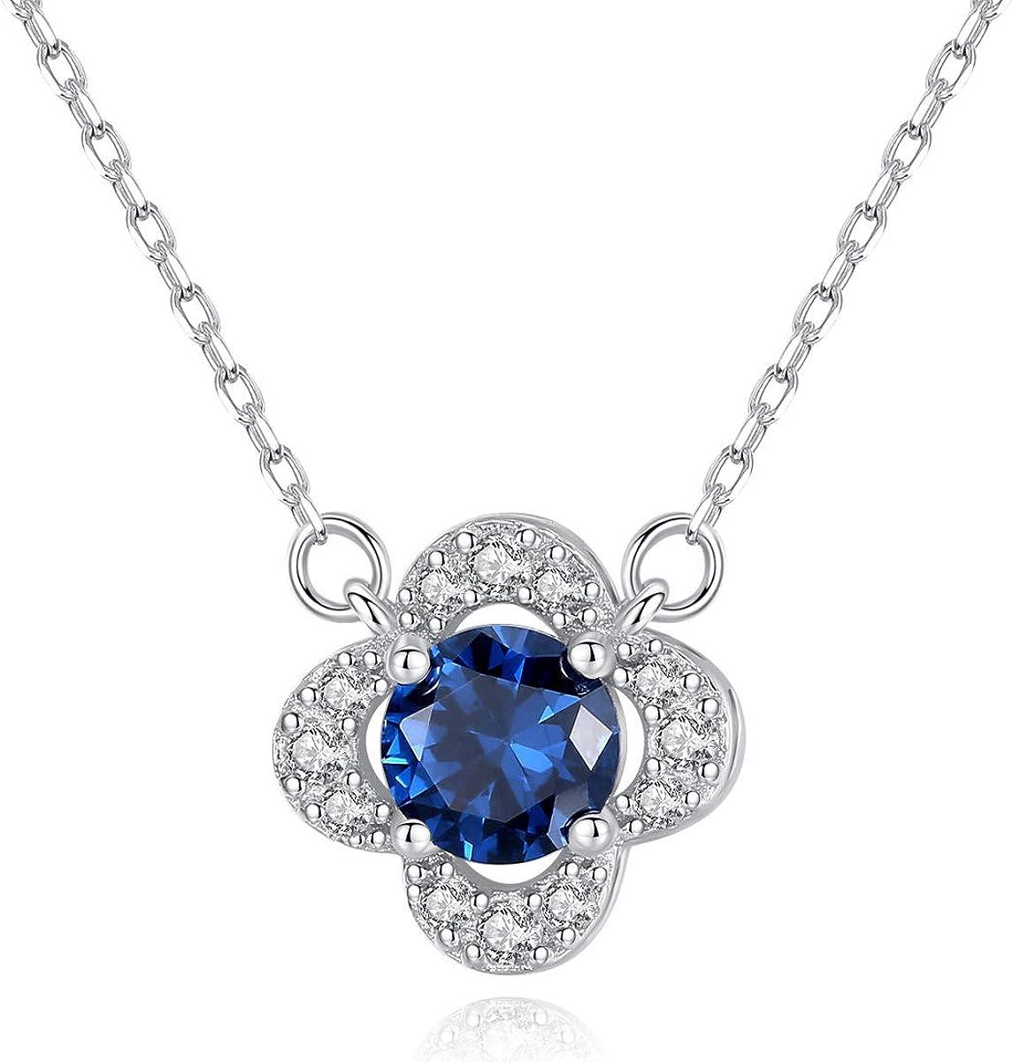 GLJIJID Exquisito Collar de Plata de Ley S925 con Colgante de Piedras Preciosas de Sri Lanka 1.0 * 1.0cm Azul