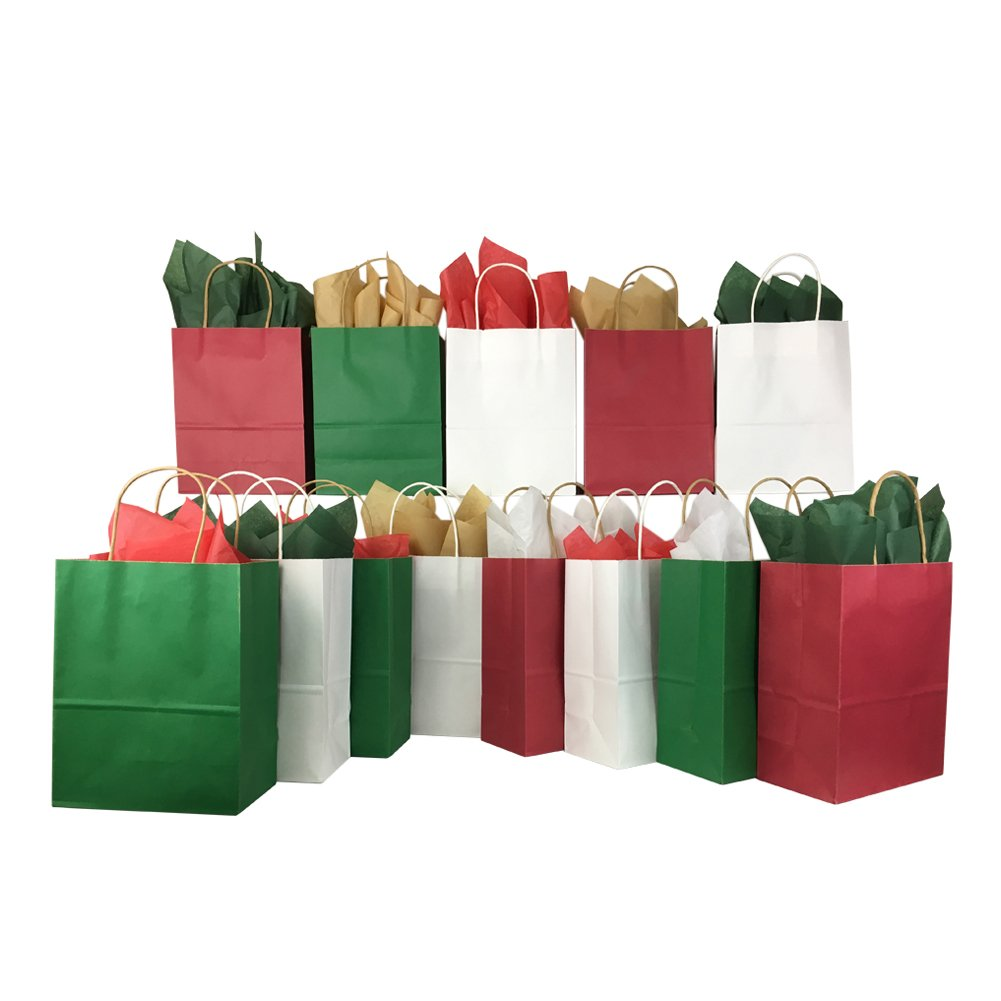 Amazon Com Set Of Christmas Gift Bags And Tissue Paper