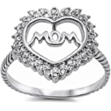 For Mom! Cubic Zirconia Heart w/ Mom .925 Sterling Silver Ring Sizes 4-12