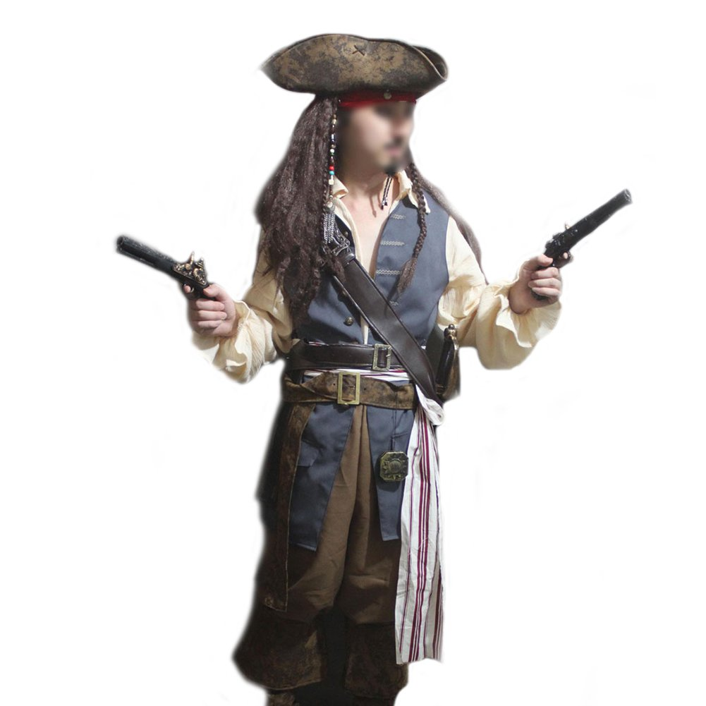 Deluxe Jack Sparrow 13-Piece Cosplay Pirate Costume - DeluxeAdultCostumes.com