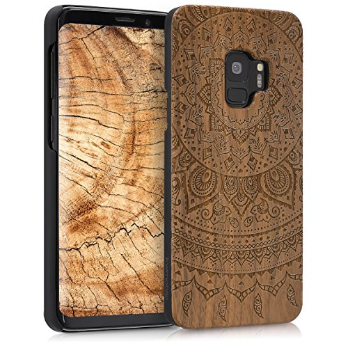 (kwmobile Samsung Galaxy S9 Wood Case - Non-Slip Natural Solid Hard Wooden Protective Cover for Samsung Galaxy S9)