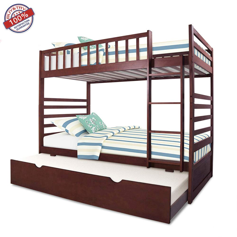 Twin Bunk Beds for Kids with Ladder and Safety, Full Storage Trundle Solid Wood Bedframe, Espresso2