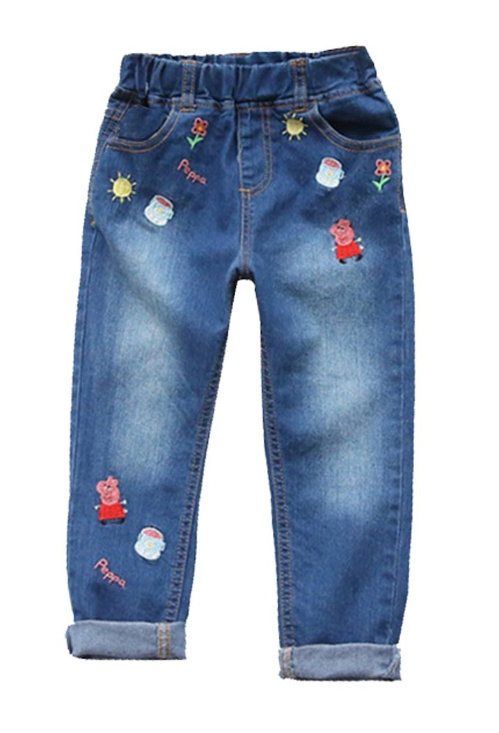 LEMONBABY Little Girl's Peppa Pig Elastic Jeans
