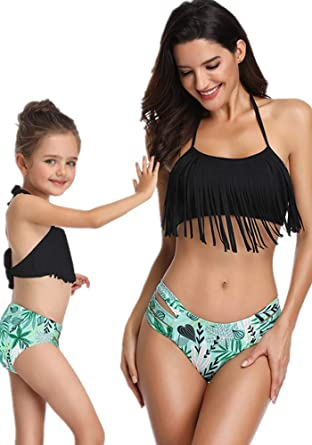 bf4ed21461d1d Diliflyer Girls Womens Swimsuit Tassel Two Piece Bathing Suits Family  Matching Mommy and Daughter Swimwear (