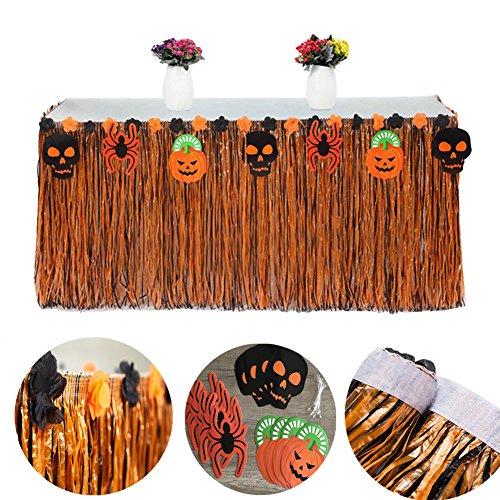 Ailiebhaus Halloween Grass Table Skirt Artificial Grass Hawaiian Style Tablecloth for Beach Luau Themed Party Halloween Tableware Decoration