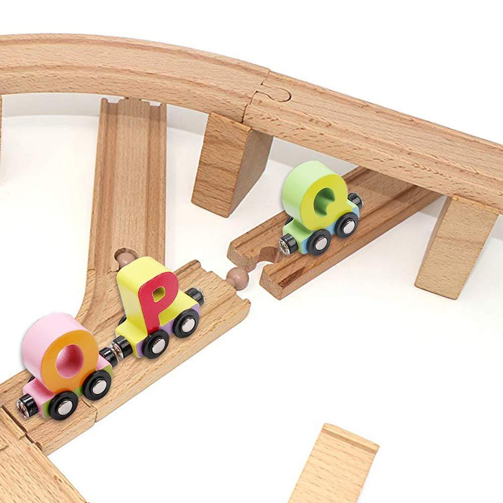Amazon com: Wooden Train Set 27 PCS - Magnetic Train Cars
