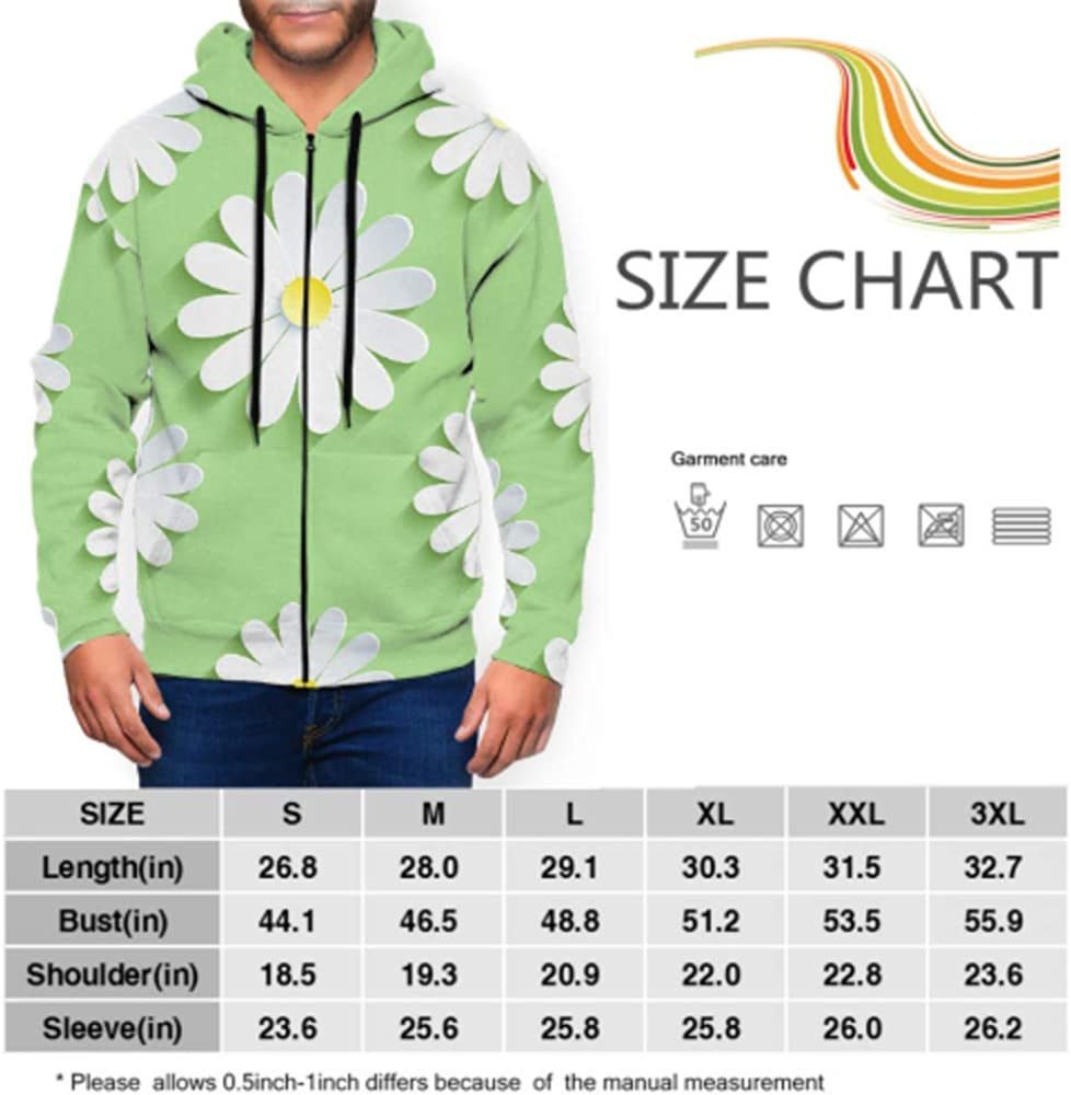XDCGG Long Sleeve Hoodie Print Beautiful Spring Pattern Green Jacket Zipper Coat Fashion Mens Sweatshirt Full-Zip S-3xl