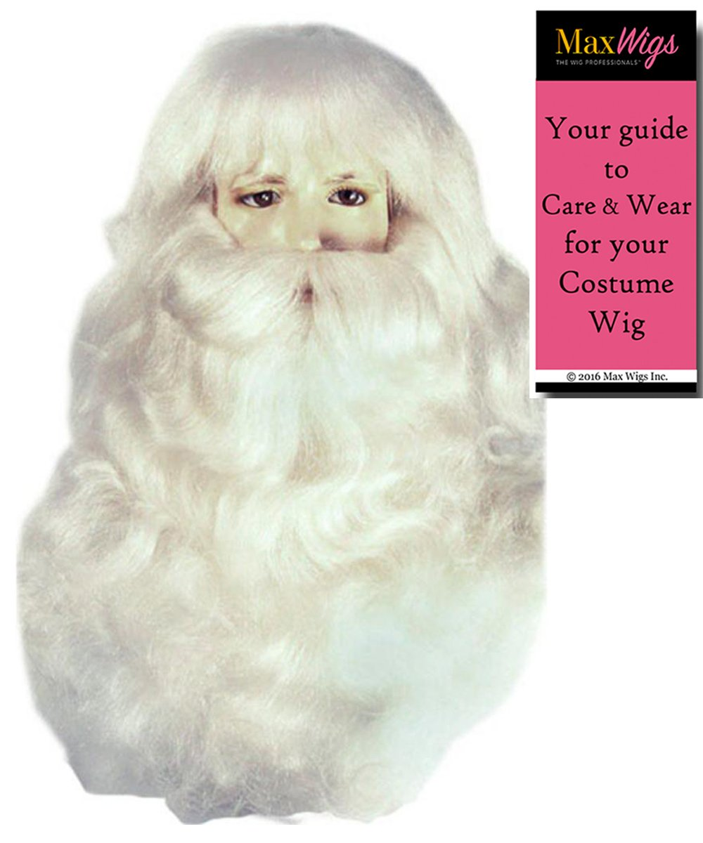 Santa 004YL Fine Yak Hair Set Color White - Lacey Wigs Men's Claus Extra Full Beard Mustache Synthetic Kris Kringle Christmas Bundle With MaxWigs Costume Wig Care Guide