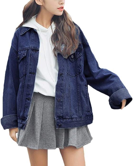 dcc1a73345834 sandbank Women s Loose Fit Long Sleeve Button Boyfriend Denim Jacket Jean  Coat (S