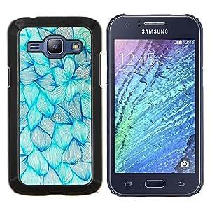 Planetar® ( Floral de la tinta azul de las flores Art Dibujo Boceto ) Samsung Galaxy J1 J100 Fundas Cover Cubre Hard Case Cover