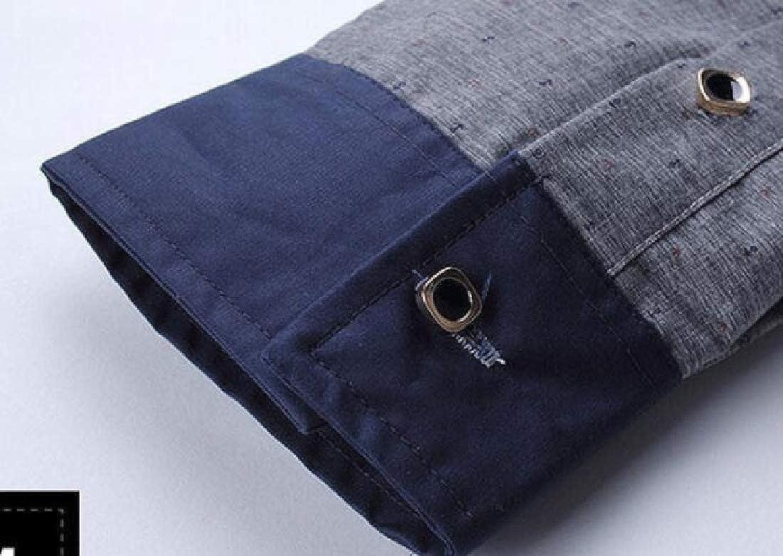 XiaoTianXinMen XTX Mens Button Up Business Contrast Print Long Sleeve Dress Work Shirt