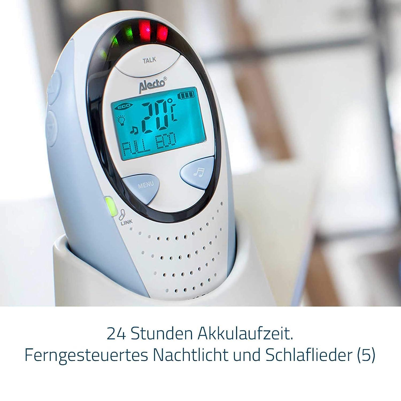 Alecto DBX-68 Eco DECT Digitales Babyphone hohe Reichweite bis zu 1000 m. Temperaturanzeige mit Alarm Gegensprechfunktion Nachtlicht LED-Ger/äuschanzeige und 6 Schlaflieder 100/% st/örungsfrei