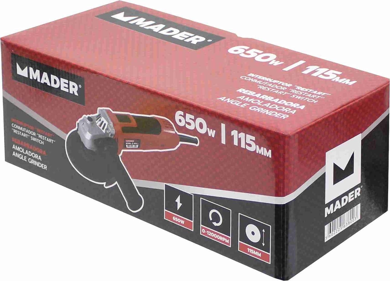Velocidad Variable Mader Power Tools 63800 Amoladora 650W 115mm Interruptor Restart