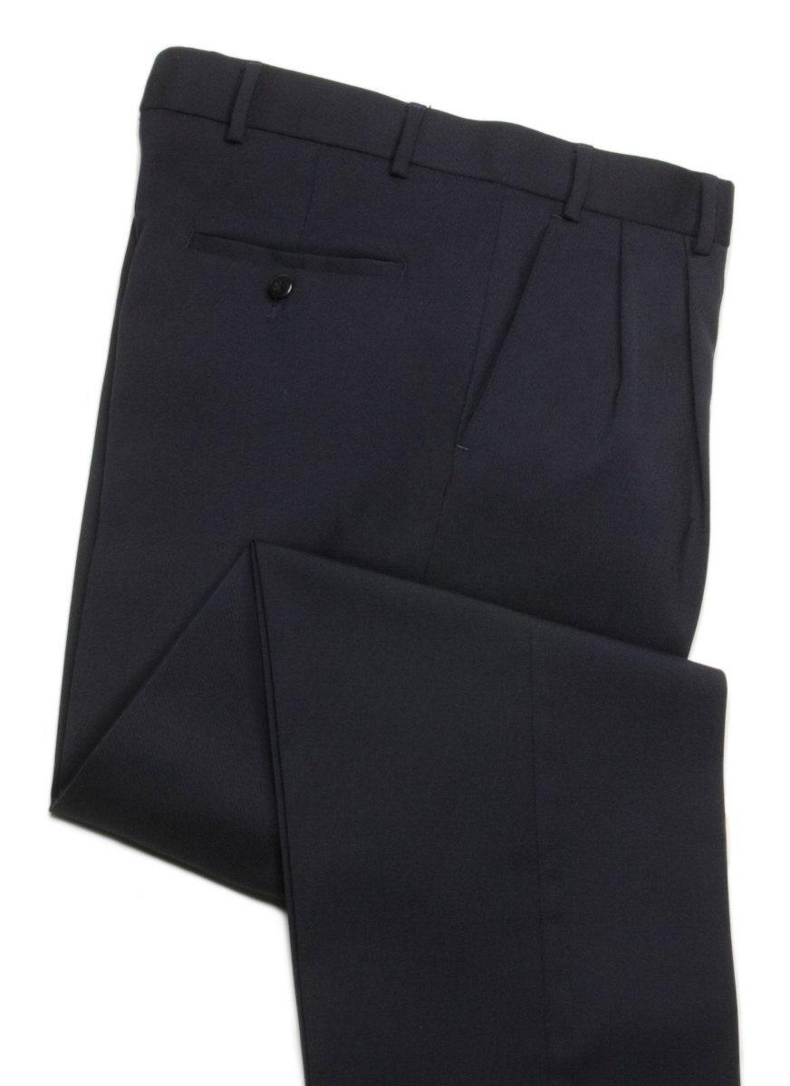 Knightsbridge Wrinkle Resistant Comfort Wool Mens Dress Pants, Lined, 2 Pleats Dark Navy Blue 38