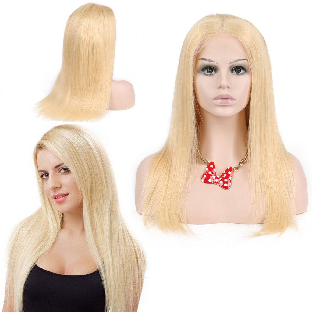 Nobel Hair # 613 Blonde Human Hair Wigs For Women With Baby Hair Straight Brazilian Virgin Human Hair Glueless Lace Wig(full lace wig 14 inch)