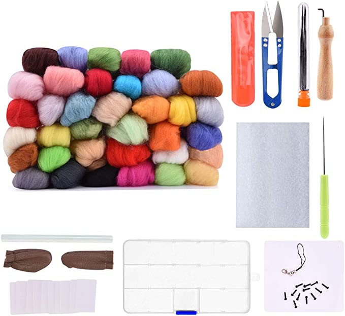AUSHEN Needle Felting Wool Kit - Wool Roving 36 Colors Set, Starter Tool Kit for Hand Spinning DIY, Fibre Yarn Craft Supplies Included Wool Felt Tools, Foam Mat, and Instruction for Starters Ideal Gift for Kids