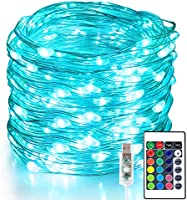 Aluan Fairy Lights 100 LED 33 FT Christmas Lights USB Plug in String Lights, 16 Colors Changing Silver Wire Firefly...