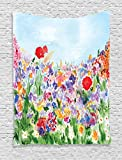 Ambesonne Watercolor Flower Decor Tapestry, Floral Summertime Garden Grass Blooms Love Illustration Print, Bedroom Living Room Dorm Decor, 40 W x 60 L inches, Red Green Purple