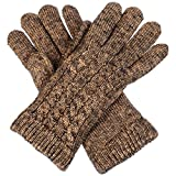 Women's Winter Classic Cable Ultra Warm Plush Fleece Lined Knit Gloves, Many Styles (Metallic Gold Cable)
