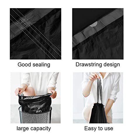 Amazon.com: Bolsas de basura pequeñas con cordón negro, 15 ...