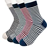 Men's Striped & Colorful Patterned Luxury Cotton Blended Dress Casual Socks - Calf Socks 4 Pack Collection (STR D)